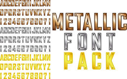 Metallic font. Vector metallic steampunk style font pack Stock Photo