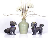 Metallic Foo dogs stock photography
