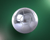 Metallic football on the hi-tech background. Metallic football (soccer ball) on the blue hi-tech background Royalty Free Stock Images