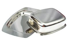 Metallic form for creamy butter. Studio Photo Stock Photo
