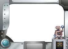 A metallic frame with a robot standing. Illustration of a metallic frame with a robot standing Stock Image
