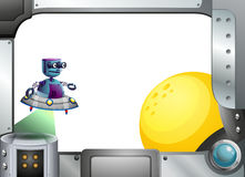 A metallic frame with a robot and a sun Stock Photo