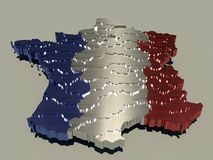 Metallic France map Royalty Free Stock Photography