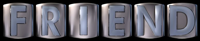 Metallic friend word. Metallic blue silver friend word realistic 3d rendered on black background Stock Photography