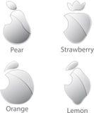 Metallic fruits set isolated on white background. Shiny metallic fruits iconss set isolated on white background royalty free illustration