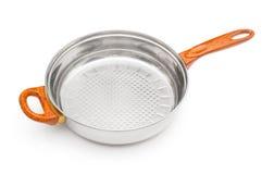 Metallic frying pan Royalty Free Stock Photo