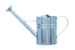 Metallic galvanized watering can isolated on white background Stock Photos