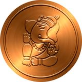 Metallic Ganesha Coin Royalty Free Stock Photo