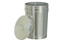 Metallic garbage can, 3D rendering Stock Photography