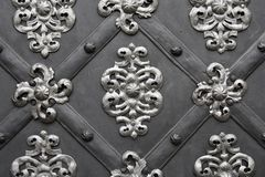 Metallic gate with floral pattern Royalty Free Stock Image