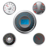 Metallic gauges set Royalty Free Stock Images