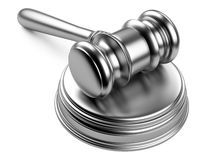 Metallic gavel and soundboard Stock Photography