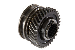 Metallic gear (isolated). Transmission gears , isolated on a white background Royalty Free Stock Photography
