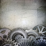 Metallic gears background. Raster illustration Royalty Free Stock Photos