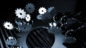 metallic Gears Flying Around - Focus Stock Image
