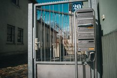 Metallic german letterboxes stock photography