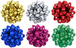 Metallic gift bows x 6 Royalty Free Stock Images
