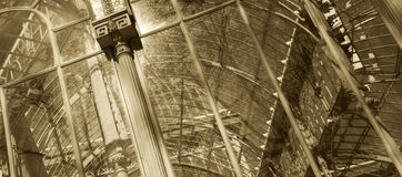 Metallic and glass building structure on sepia tone Stock Images