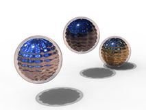 Metallic and glass sphere Royalty Free Stock Images