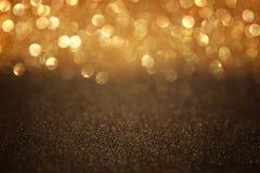 Metallic glitter vintage lights background. De-focused. Stock Photo
