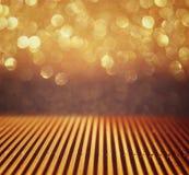Metallic glitter vintage lights background. De-focused. Stock Photography