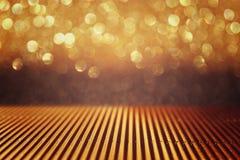 Metallic glitter vintage lights background. defocused. Stock Images
