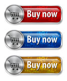 Metallic and glossy web elements. /buttons with snow flake background for online shopping. Vector illustration Stock Images