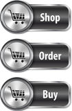 Metallic and glossy web elements/buttons for online shopping Stock Photo