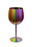 Metallic goblet for wine in color lights on white Royalty Free Stock Images