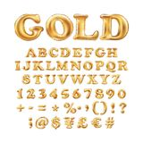 Metallic Gold alphabet Balloons, golden letter type for Text, Letter, new year, holiday, birthday, celebration. Golden shiny brigh. T font in the air. art stock illustration