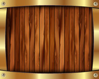 Metallic gold frame on a wooden background 11 Royalty Free Stock Image