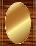 Metallic gold frame on a wooden background 13 Royalty Free Stock Photography