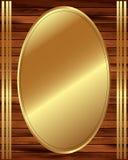 Metallic gold frame on a wooden background 13. Metallic gold frame on wooden background for your design Vector Illustration