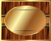 Metallic gold frame on a wooden background Royalty Free Stock Photos