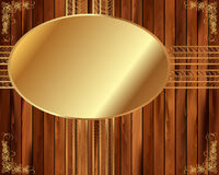 Metallic gold frame on a wooden background 5 Royalty Free Stock Images
