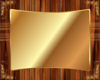Metallic gold frame on a wooden background 7 Stock Photo
