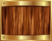Metallic gold frame on a wooden background 9 Royalty Free Stock Photo