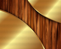 Metallic gold frame on a wooden background 10 Stock Photography