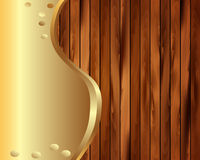 Metallic gold frame on a wooden background 5 Stock Images