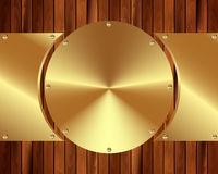 Metallic gold frame on a wooden background 4 Stock Photography