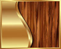 Metallic gold frame on a wooden background 6 Stock Photos