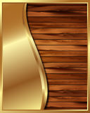 Metallic gold frame on a wooden background 9 Royalty Free Stock Images