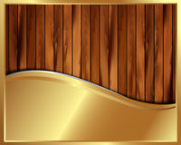 Metallic gold frame on a wooden background 8 Stock Image