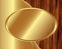 Metallic gold frame on a wooden background 7 Stock Photography