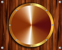 Metallic gold frame on a wooden background 13. Metallic gold frame on wooden background for your design Royalty Free Illustration