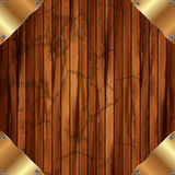 Metallic gold frame on a wooden background 11 Royalty Free Stock Photo