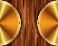 Metallic gold frame on a wooden background 15. Metallic gold frame on wooden background for your design vector illustration