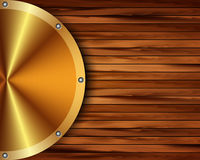 Metallic gold frame on a wooden background 17 Stock Photo