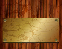 Metallic gold frame on a wooden background 22 Stock Photography