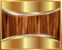 Metallic gold frame on a wooden background 23 Royalty Free Stock Images